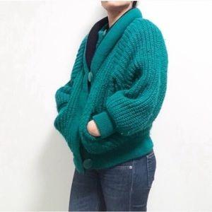 Vintage AF super warm chunky knit sweater jacket.l